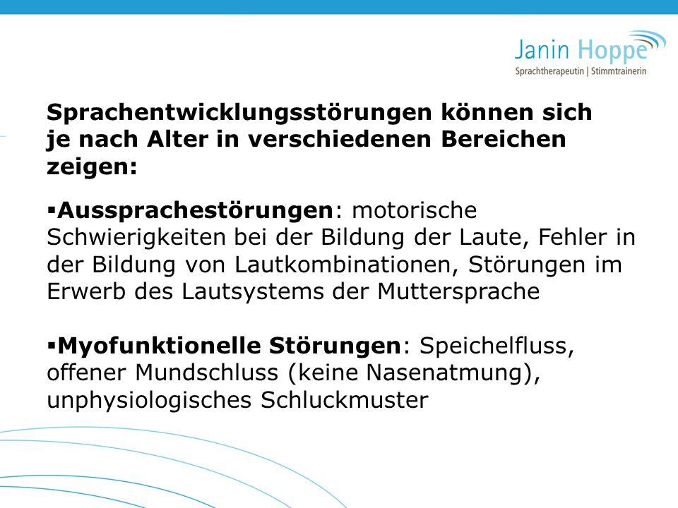  Aussprachestörungen: motorische Schwierigkeiten bei der Bildung der Laute, Fehler in der Bildung von Lautkombinationen, Störungen im Erwerb des Laut