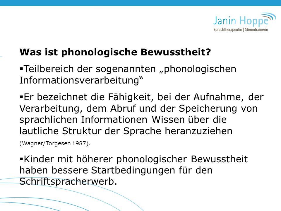 """Was ist phonologische Bewusstheit?  Teilbereich der sogenannten """"phonologischen Informationsverarbeitung""""  Er bezeichnet die Fähigkeit, bei der Aufn"""