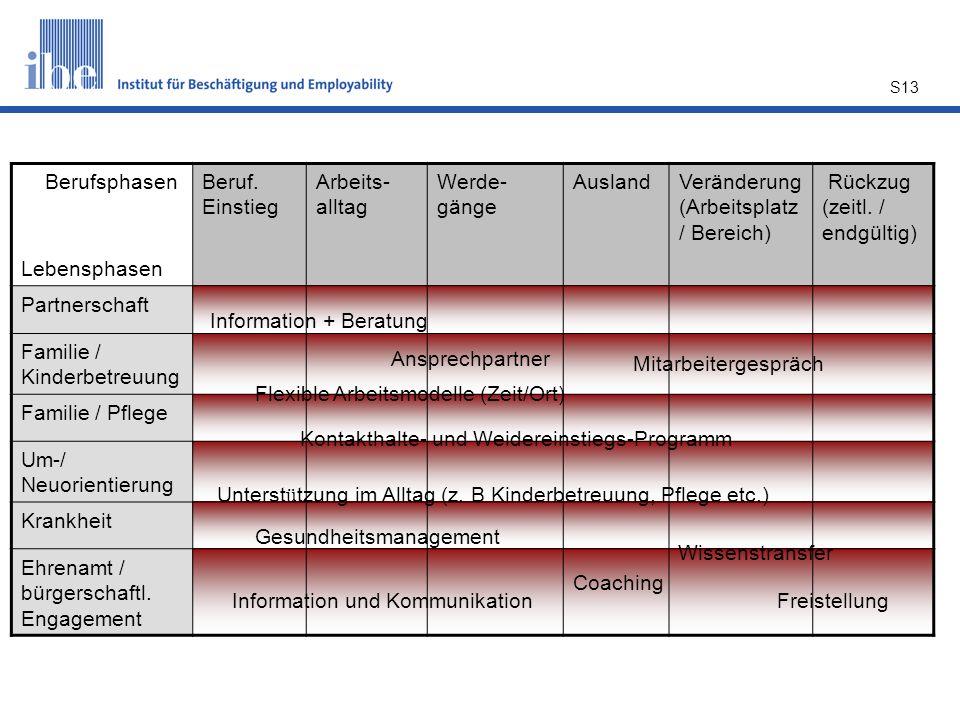 S13 Berufsphasen Lebensphasen Beruf. Einstieg Arbeits- alltag Werde- gänge AuslandVeränderung (Arbeitsplatz / Bereich) Rückzug (zeitl. / endgültig) Pa