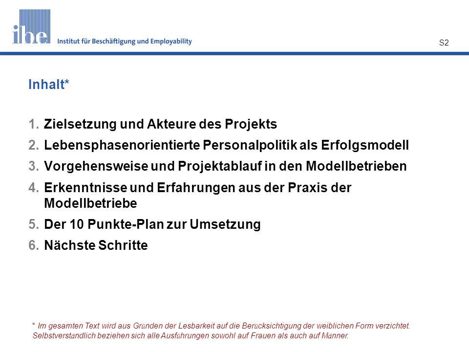 S2 Inhalt* 1.Zielsetzung und Akteure des Projekts 2.Lebensphasenorientierte Personalpolitik als Erfolgsmodell 3.Vorgehensweise und Projektablauf in de