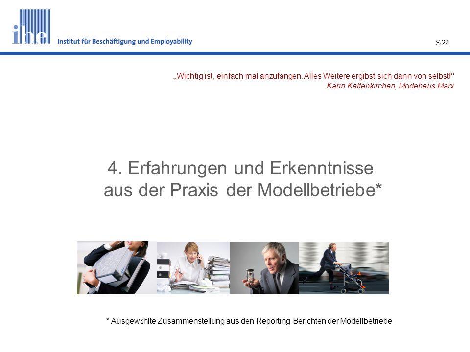 S24 4. Erfahrungen und Erkenntnisse aus der Praxis der Modellbetriebe* * Ausgew ä hlte Zusammenstellung aus den Reporting-Berichten der Modellbetriebe