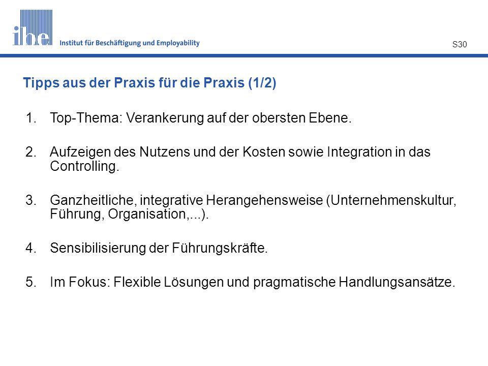 S30 1.Top-Thema: Verankerung auf der obersten Ebene. 2.Aufzeigen des Nutzens und der Kosten sowie Integration in das Controlling. 3.Ganzheitliche, int