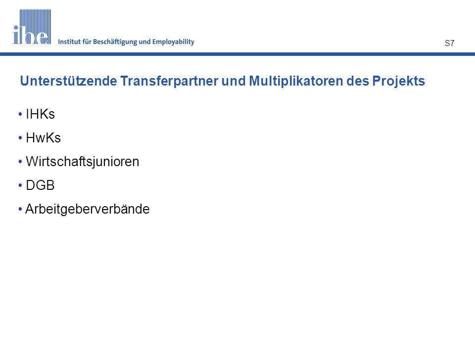 S7 IHKs HwKs Wirtschaftsjunioren DGB Arbeitgeberverbände Unterstützende Transferpartner und Multiplikatoren des Projekts