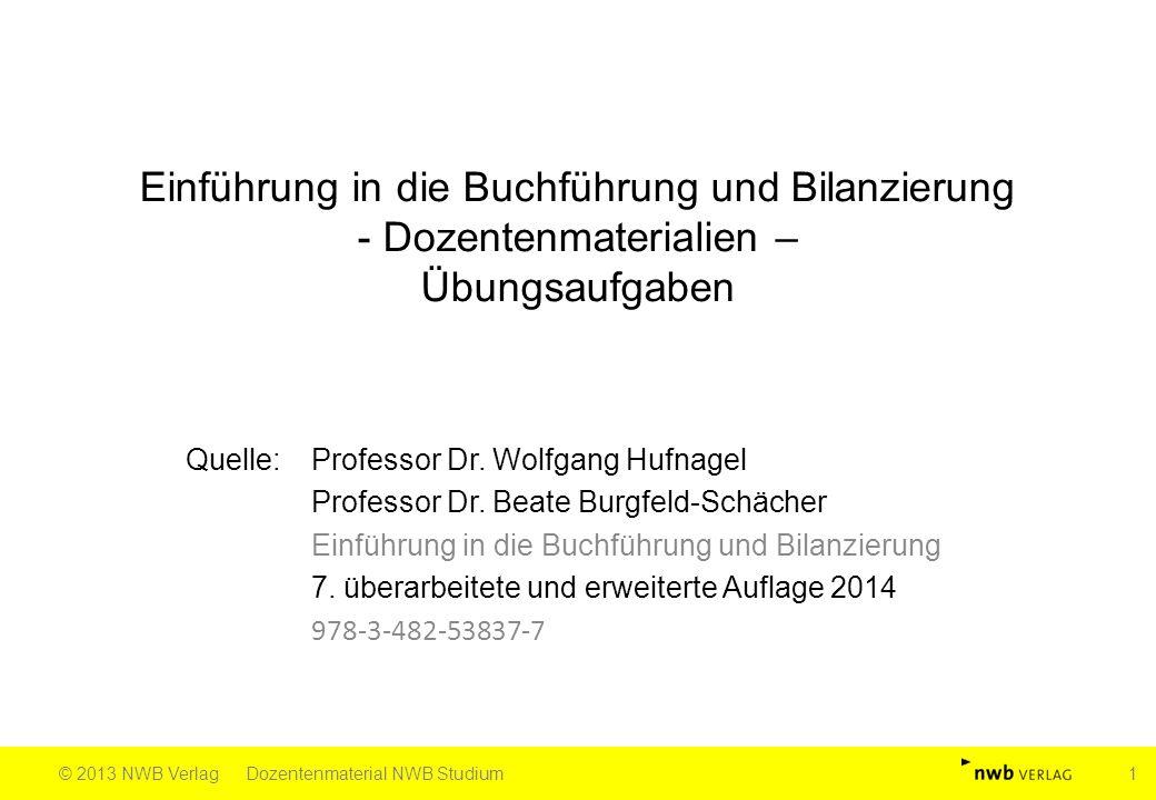 Einführung in die Buchführung und Bilanzierung - Dozentenmaterialien – Übungsaufgaben Quelle: Professor Dr. Wolfgang Hufnagel Professor Dr. Beate Burg