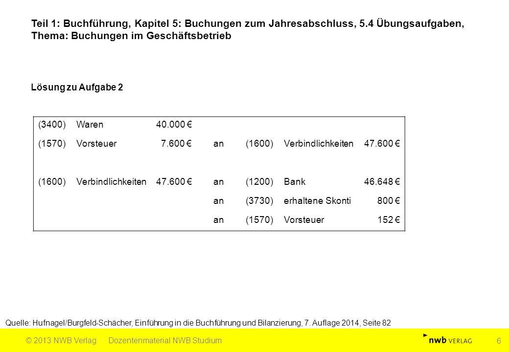 Teil 1: Buchführung, Kapitel 5: Buchungen zum Jahresabschluss, 5.4 Übungsaufgaben, Thema: Buchungen im Geschäftsbetrieb Quelle: Hufnagel/Burgfeld-Schä