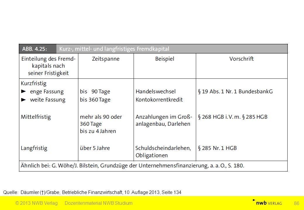 Quelle: Däumler (†)/Grabe, Betriebliche Finanzwirtschaft, 10. Auflage 2013, Seite 134 © 2013 NWB VerlagDozentenmaterial NWB Studium 86
