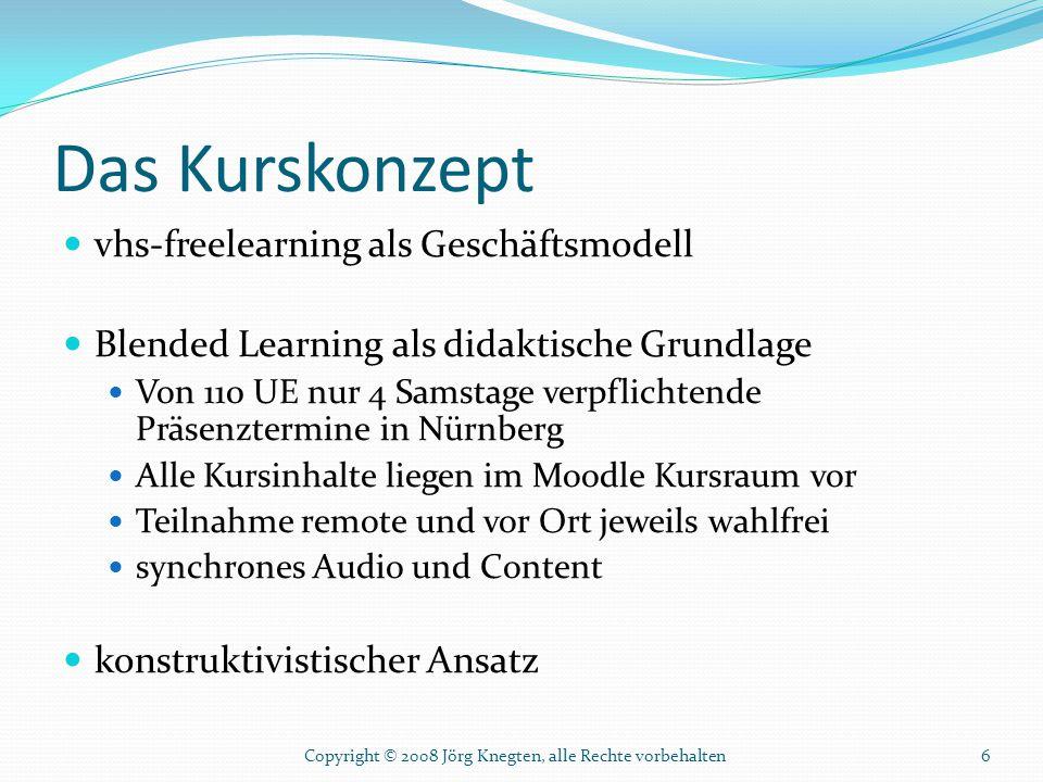 Das Kurskonzept vhs-freelearning als Geschäftsmodell Blended Learning als didaktische Grundlage Von 110 UE nur 4 Samstage verpflichtende Präsenztermin