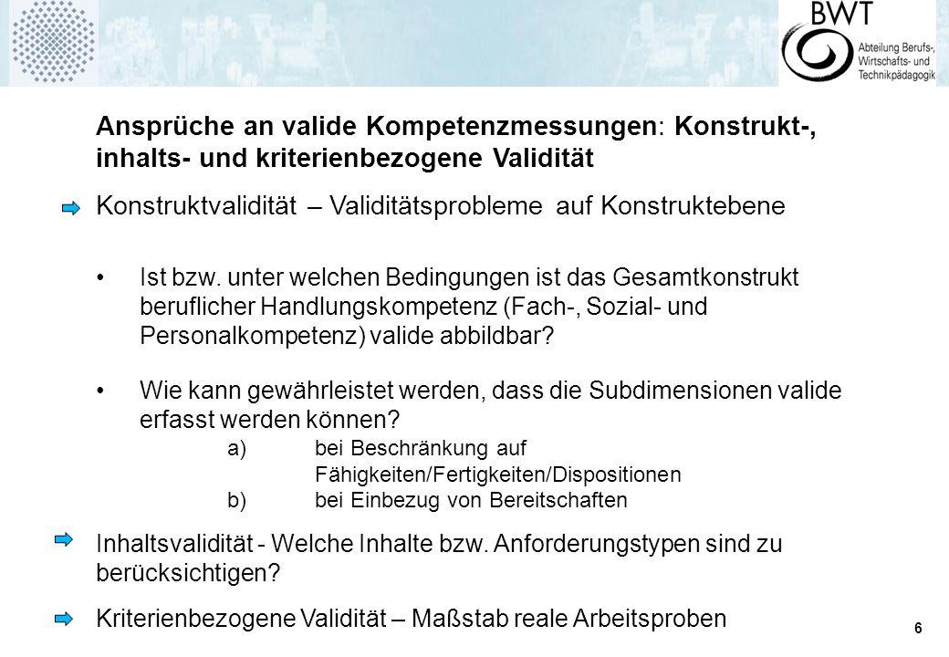 6 Ansprüche an valide Kompetenzmessungen: Konstrukt-, inhalts- und kriterienbezogene Validität Konstruktvalidität – Validitätsprobleme auf Konstruktebene Ist bzw.