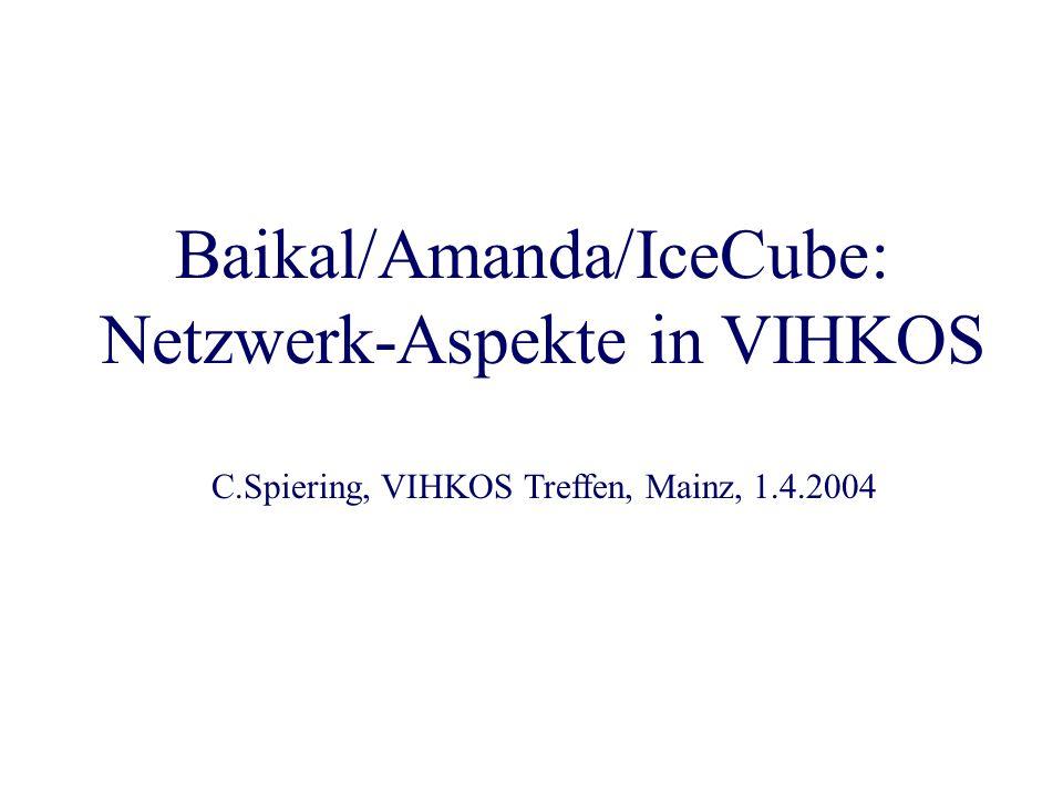 Baikal/Amanda/IceCube: Netzwerk-Aspekte in VIHKOS C.Spiering, VIHKOS Treffen, Mainz, 1.4.2004