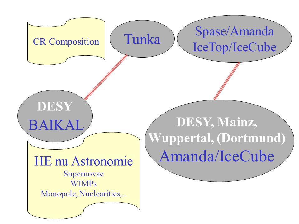 DESY BAIKAL Tunka Spase/Amanda IceTop/IceCube DESY, Mainz, Wuppertal, (Dortmund) Amanda/IceCube CR Composition HE nu Astronomie Supernovae WIMPs Monopole, Nuclearities,..