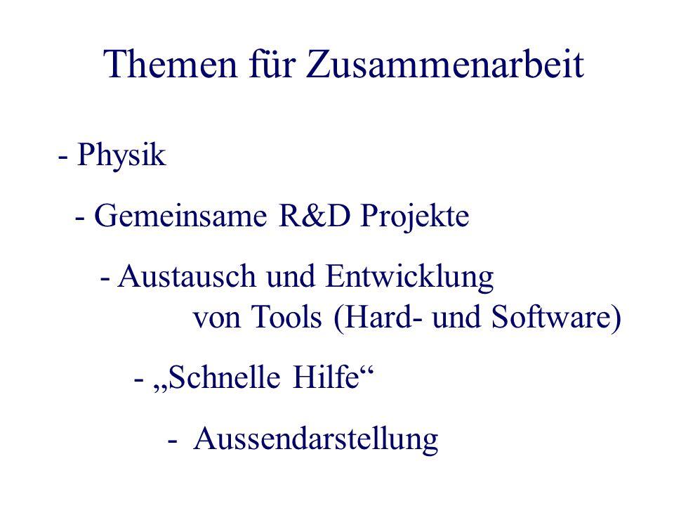 """- Physik - Gemeinsame R&D Projekte - Austausch und Entwicklung von Tools (Hard- und Software) - """"Schnelle Hilfe - Aussendarstellung Themen für Zusammenarbeit"""