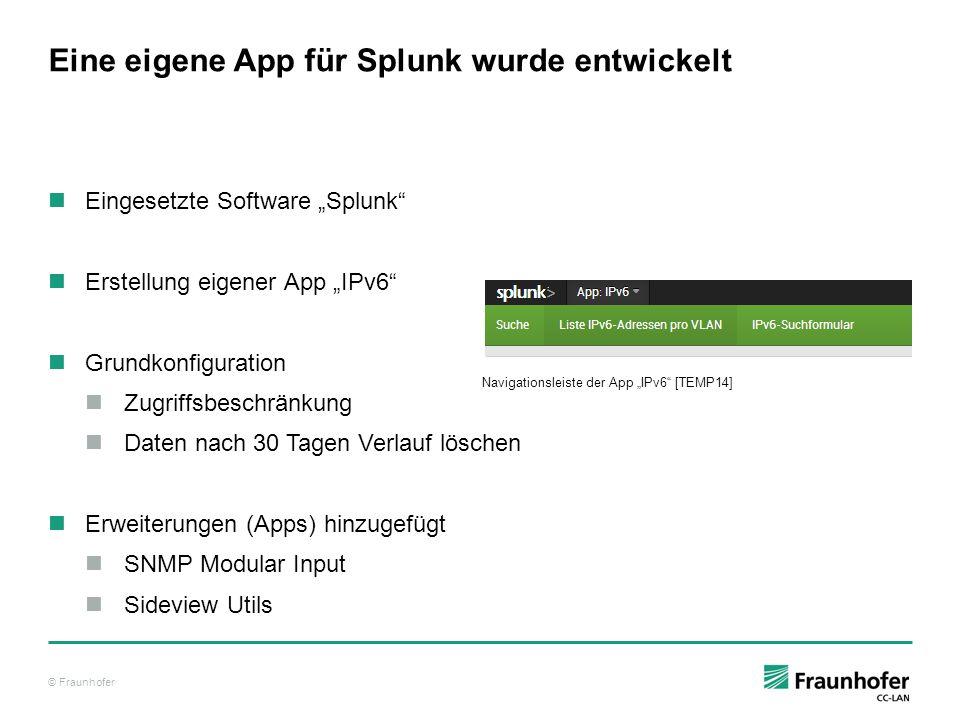 """© Fraunhofer Eine eigene App für Splunk wurde entwickelt Eingesetzte Software """"Splunk"""" Erstellung eigener App """"IPv6"""" Grundkonfiguration Zugriffsbeschr"""
