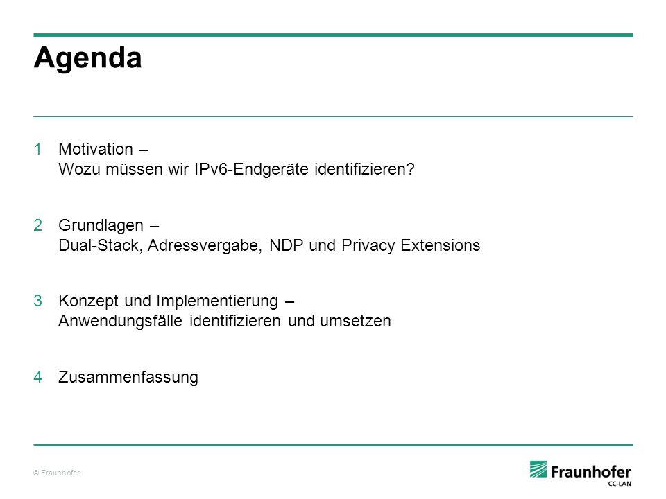 © Fraunhofer Zufälliges Generieren von IPv6-Adressen – IPv6 Privacy Extensions Interface ID wird zufällig generiert Zeitlich befristete Gültigkeit Priorisierte Kommunikation Dienen zur Verschleierung Diagramm zum Generierung Privacy Extensions [BWVO11]