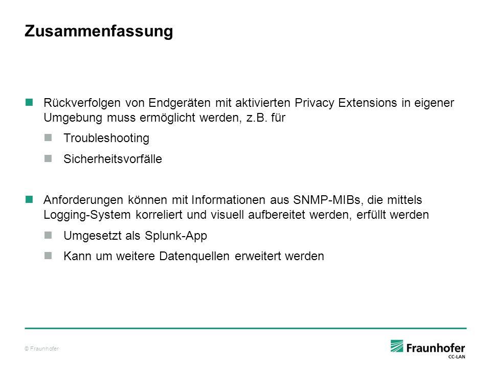 © Fraunhofer Zusammenfassung Rückverfolgen von Endgeräten mit aktivierten Privacy Extensions in eigener Umgebung muss ermöglicht werden, z.B. für Trou