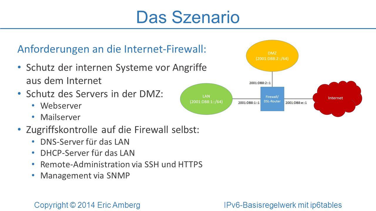Das Szenario Copyright © 2014 Eric Amberg IPv6-Basisregelwerk mit ip6tables Anforderungen an die Internet-Firewall: Schutz der internen Systeme vor An
