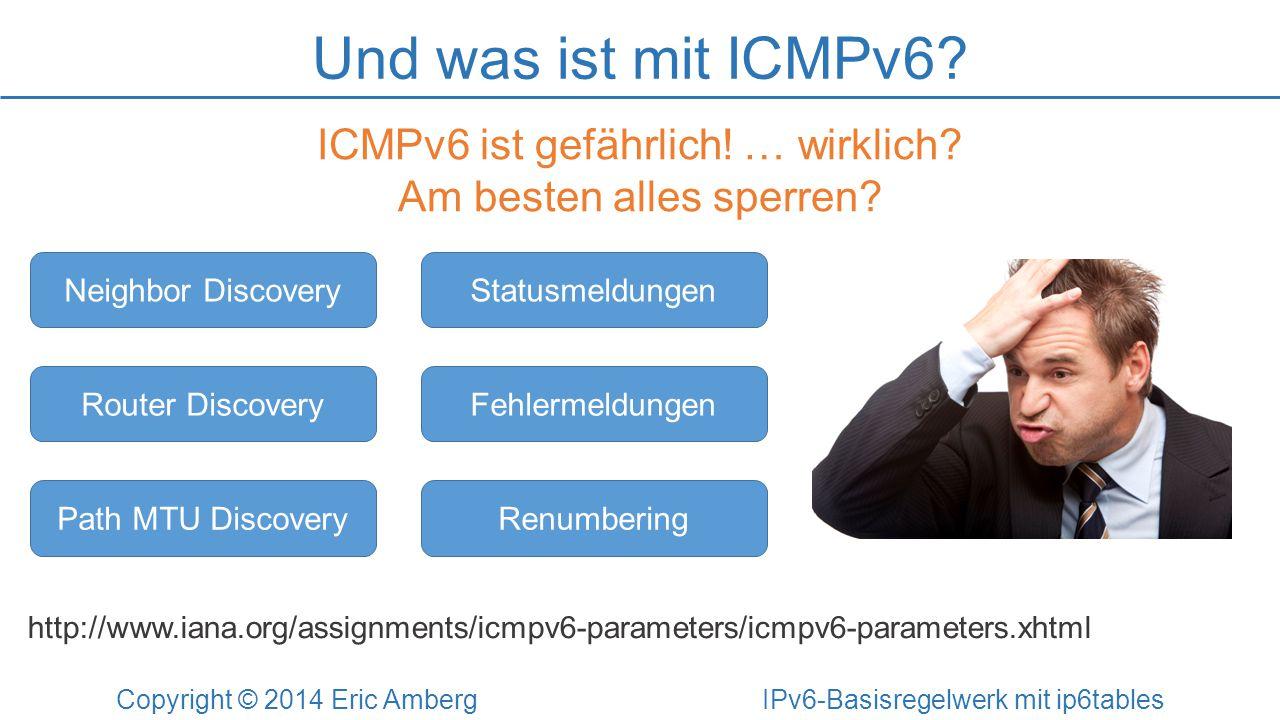 Und was ist mit ICMPv6? Copyright © 2014 Eric Amberg IPv6-Basisregelwerk mit ip6tables ICMPv6 ist gefährlich! … wirklich? Am besten alles sperren? Nei