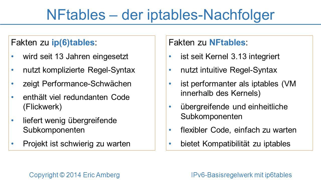 NFtables – der iptables-Nachfolger Copyright © 2014 Eric Amberg IPv6-Basisregelwerk mit ip6tables Fakten zu ip(6)tables: wird seit 13 Jahren eingesetz