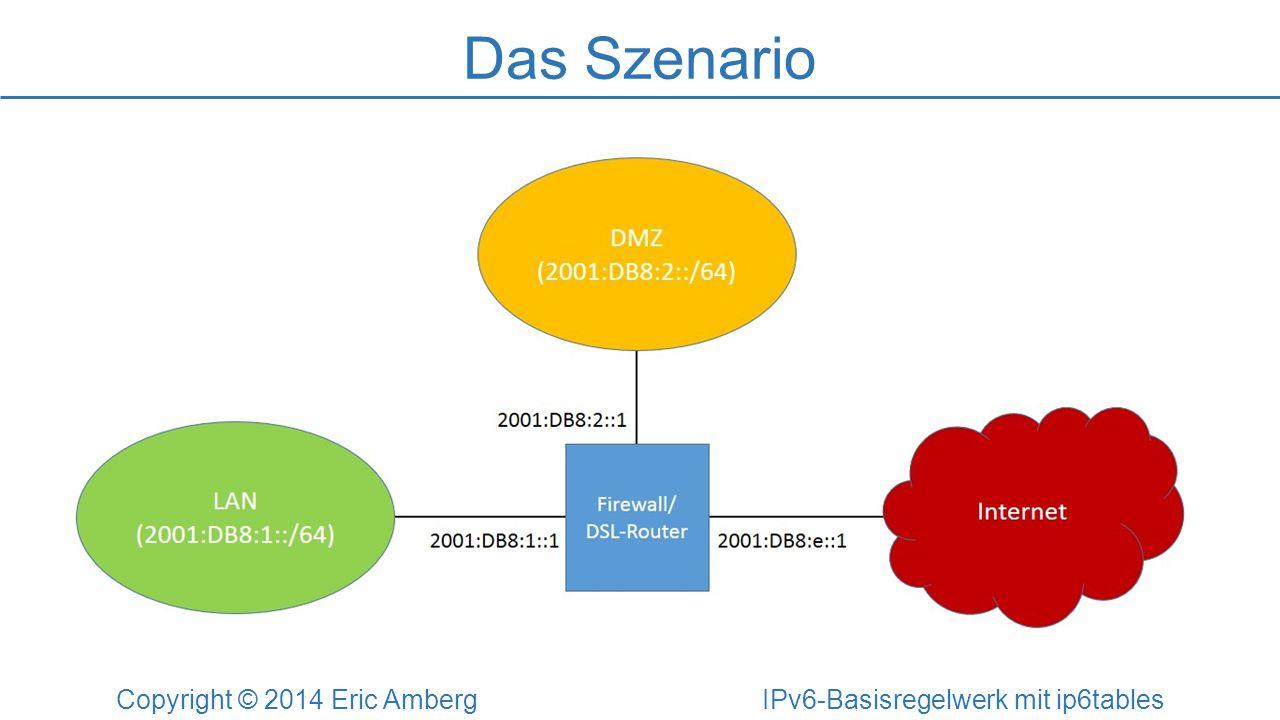 Das Szenario Copyright © 2014 Eric Amberg IPv6-Basisregelwerk mit ip6tables Anforderungen an die Internet-Firewall: Schutz der internen Systeme vor Angriffe aus dem Internet Schutz des Servers in der DMZ: Webserver Mailserver Zugriffskontrolle auf die Firewall selbst: DNS-Server für das LAN DHCP-Server für das LAN Remote-Administration via SSH und HTTPS Management via SNMP