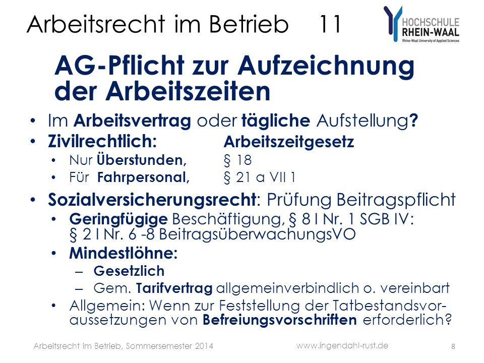Arbeitsrecht im Betrieb 11 AG-Pflicht zur Aufzeichnung der Arbeitszeiten Im Arbeitsvertrag oder tägliche Aufstellung .