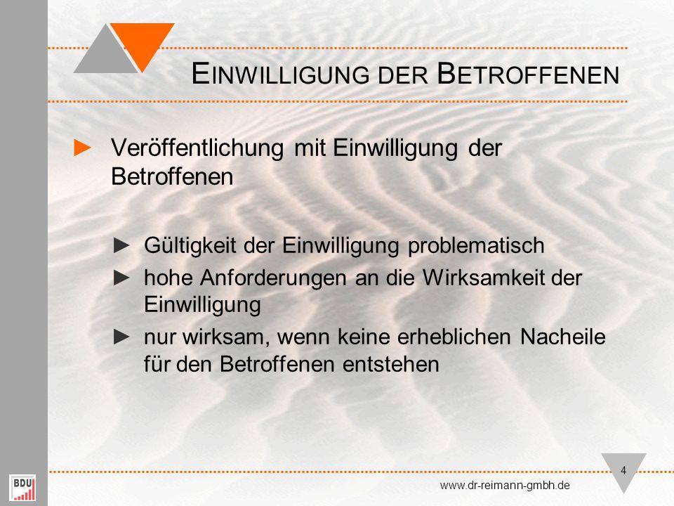 Vielen Dank für Ihre Aufmerksamkeit. E NDE www.dr-reimann-gmbh.de 15