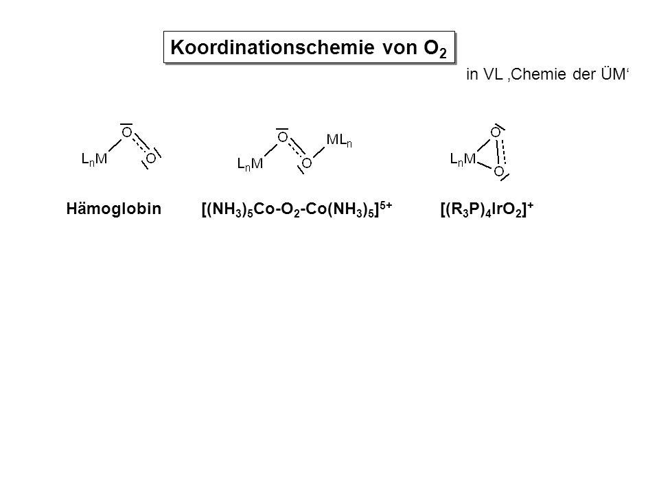 in VL 'Chemie der ÜM' Koordinationschemie von O 2 Hämoglobin[(NH 3 ) 5 Co-O 2 -Co(NH 3 ) 5 ] 5+ [(R 3 P) 4 IrO 2 ] +