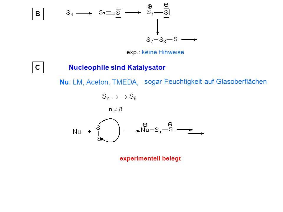 exp.: keine Hinweise B Nu: LM, Aceton, TMEDA, S n   S 8 Nucleophile sind Katalysator n  8 C experimentell belegt sogar Feuchtigkeit auf Glasoberflächen