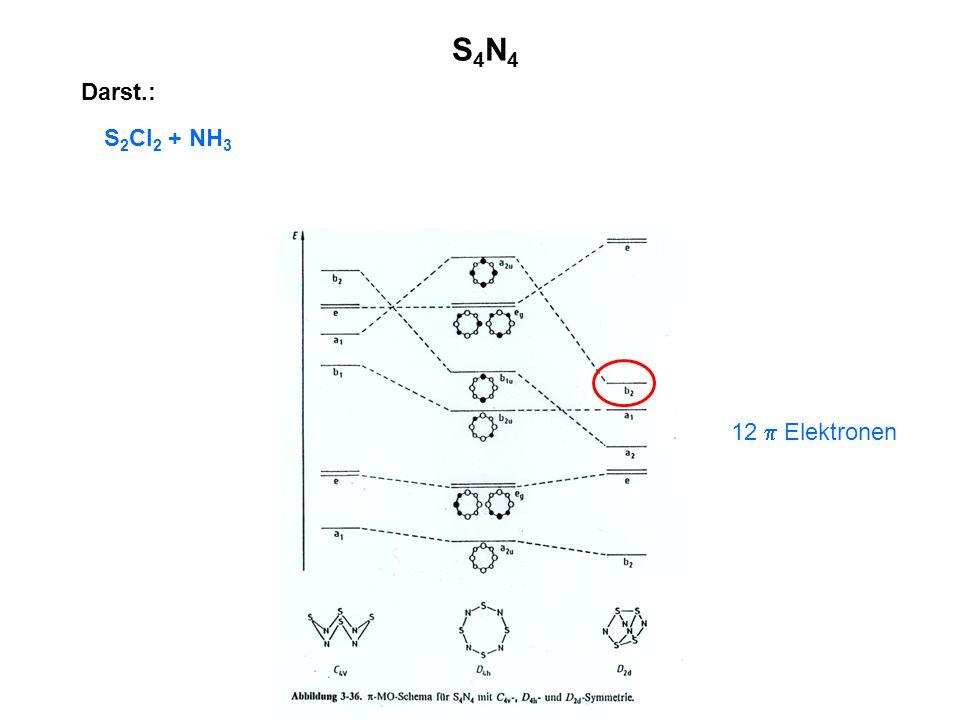 Darst.: S 2 Cl 2 + NH 3 S4N4S4N4 12  Elektronen