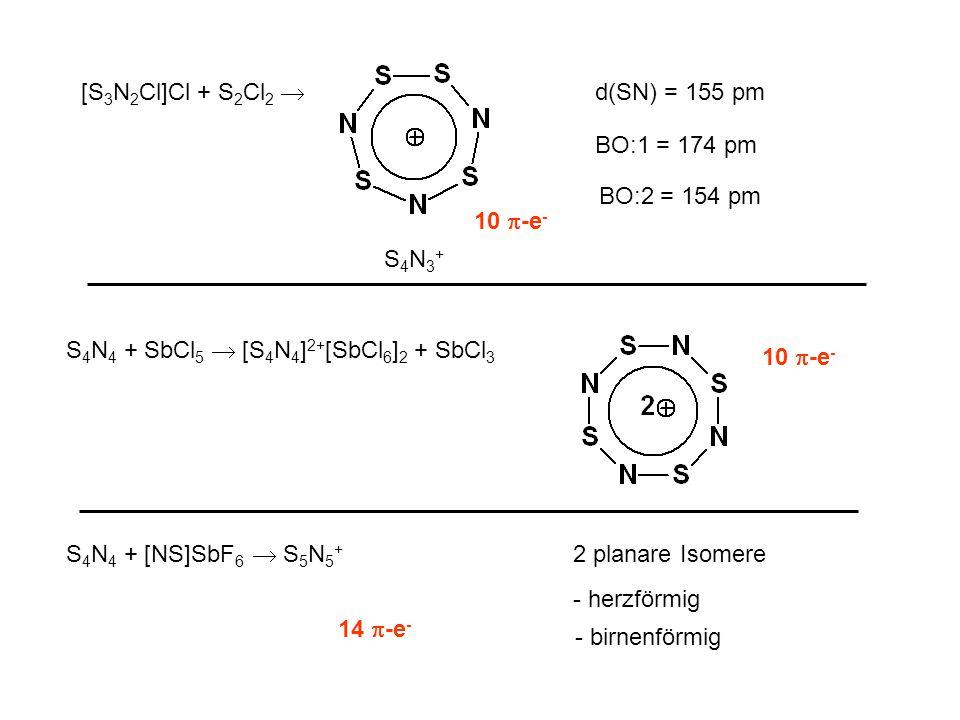[S 3 N 2 Cl]Cl + S 2 Cl 2  d(SN) = 155 pm BO:1 = 174 pm BO:2 = 154 pm S4N3+S4N3+ S 4 N 4 + SbCl 5  [S 4 N 4 ] 2+ [SbCl 6 ] 2 + SbCl 3 10  -e - 14  -e - S 4 N 4 + [NS]SbF 6  S 5 N 5 + 2 planare Isomere - herzförmig - birnenförmig
