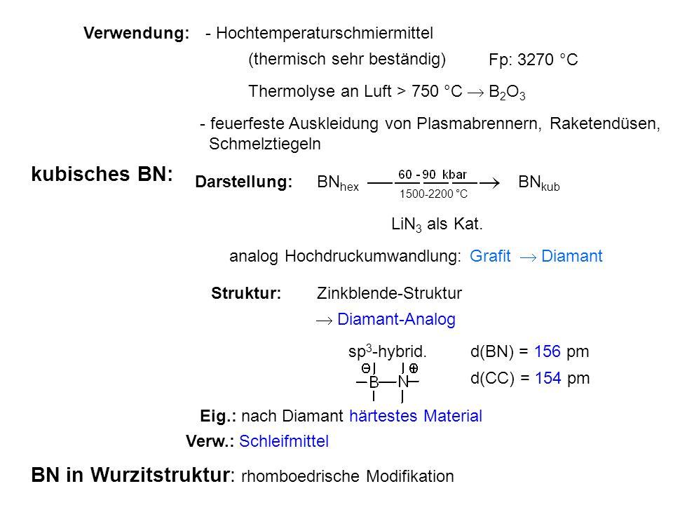 Verwendung:- Hochtemperaturschmiermittel (thermisch sehr beständig) Fp: 3270 °C Thermolyse an Luft > 750 °C  B 2 O 3 - feuerfeste Auskleidung von Plasmabrennern, Raketendüsen, Schmelztiegeln kubisches BN: Darstellung:BN hex BN kub 1500-2200 °C LiN 3 als Kat.