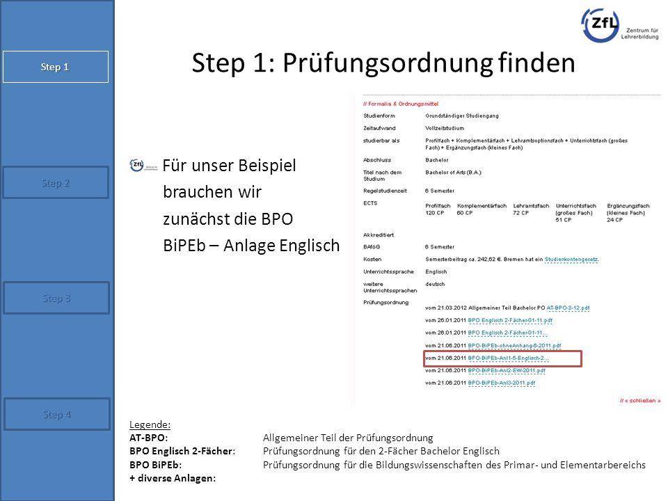 Step 1: Prüfungsordnung finden Für unser Beispiel brauchen wir zunächst die BPO BiPEb – Anlage Englisch Step 2 Step 4 Step 1 Step 3 Legende: AT-BPO: A
