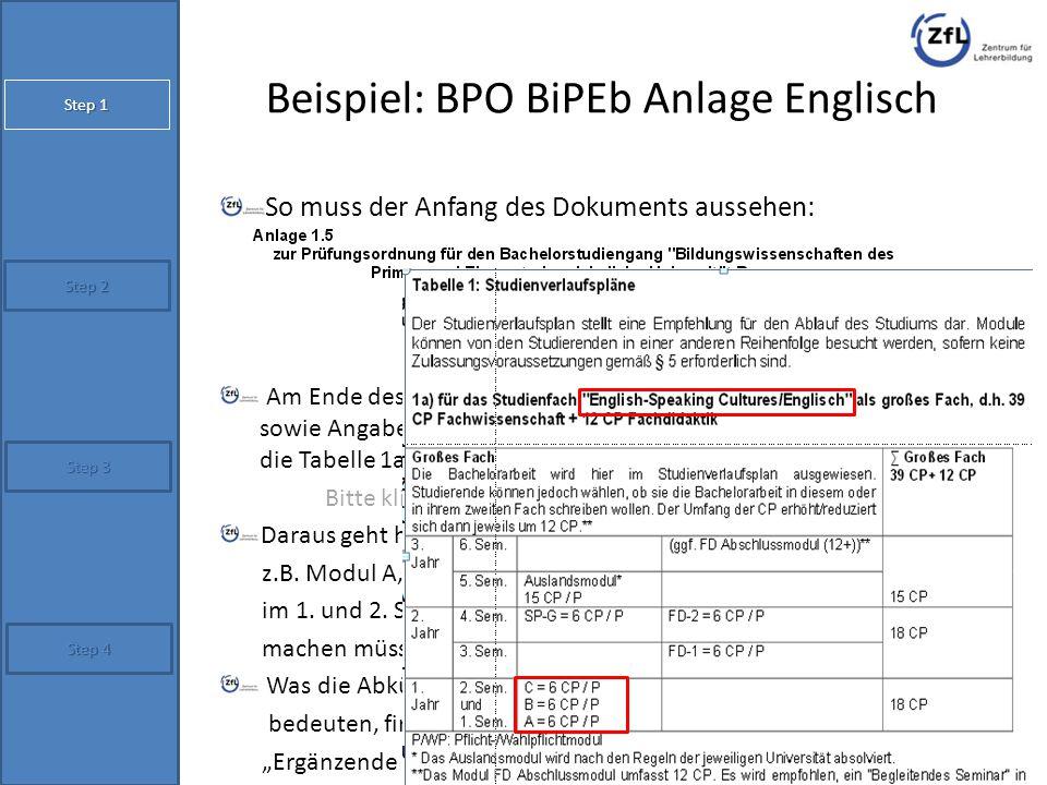 Beispiel: BPO BiPEb Anlage Englisch So muss der Anfang des Dokuments aussehen: Am Ende des Dokuments befinden sich Studienverlaufspläne sowie Angaben