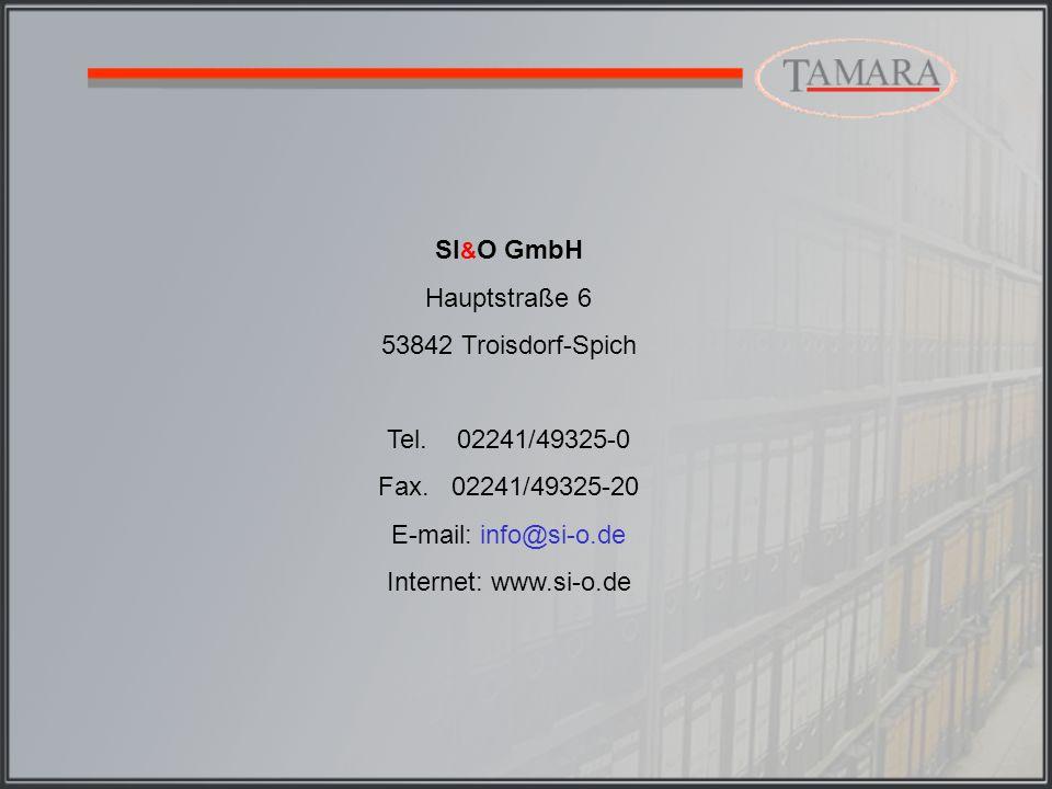 SI & O GmbH Hauptstraße 6 53842 Troisdorf-Spich Tel.