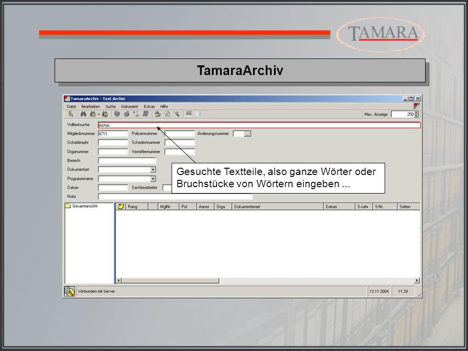 TamaraArchiv In der Trefferliste werden die gefundenen Dokumente incl.