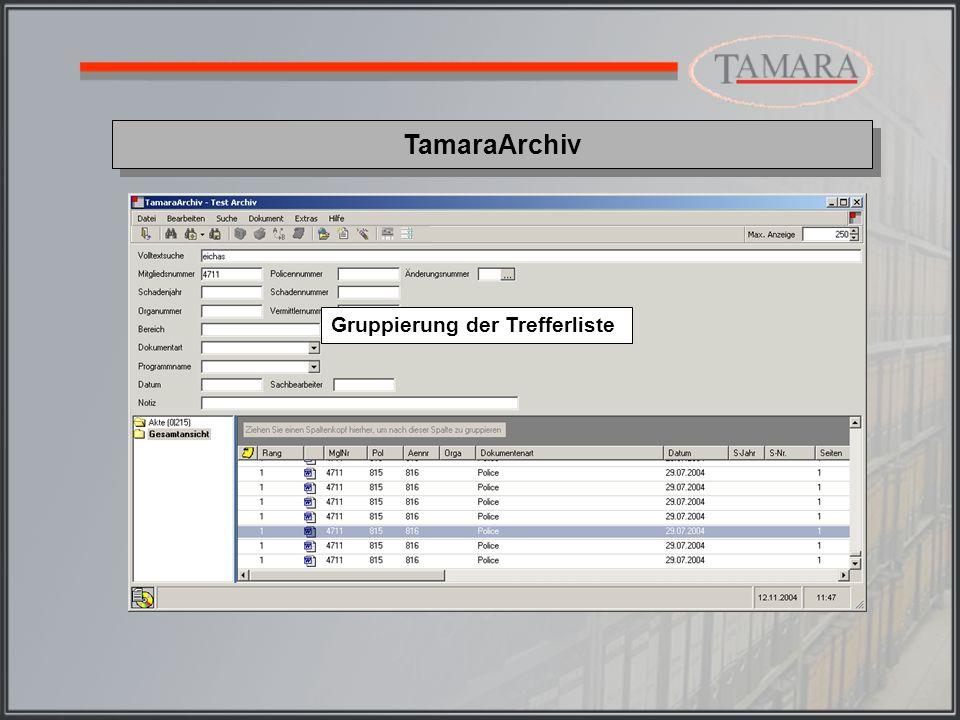 TamaraArchiv Über diese Schaltfläche kann die Anzeige in der Trefferliste nach Spaltennamen gruppiert werden