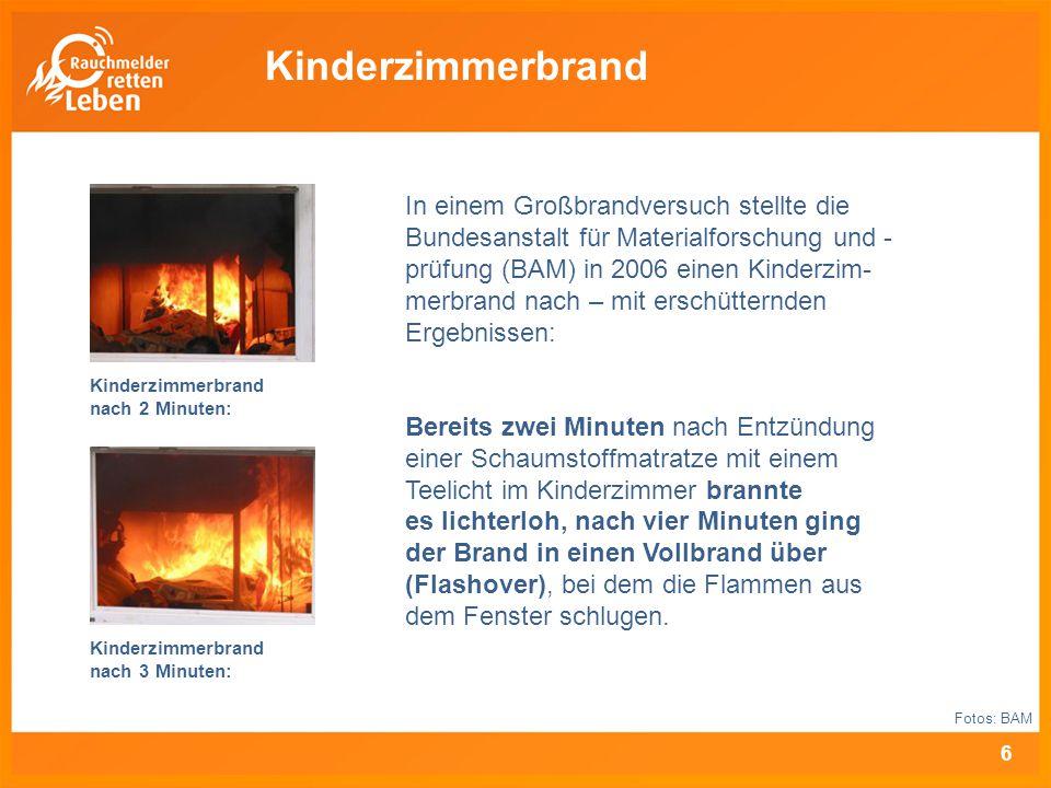 Kinderzimmerbrand nach 2 Minuten: Kinderzimmerbrand nach 3 Minuten: In einem Großbrandversuch stellte die Bundesanstalt für Materialforschung und - pr