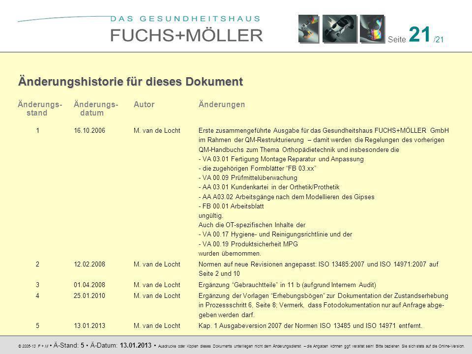 © 2006-13 F + M Ä-Stand: 5 Ä-Datum: 13.01.2013 Ausdrucke oder Kopien dieses Dokuments unterliegen nicht dem Änderungsdienst – die Angaben können ggf.