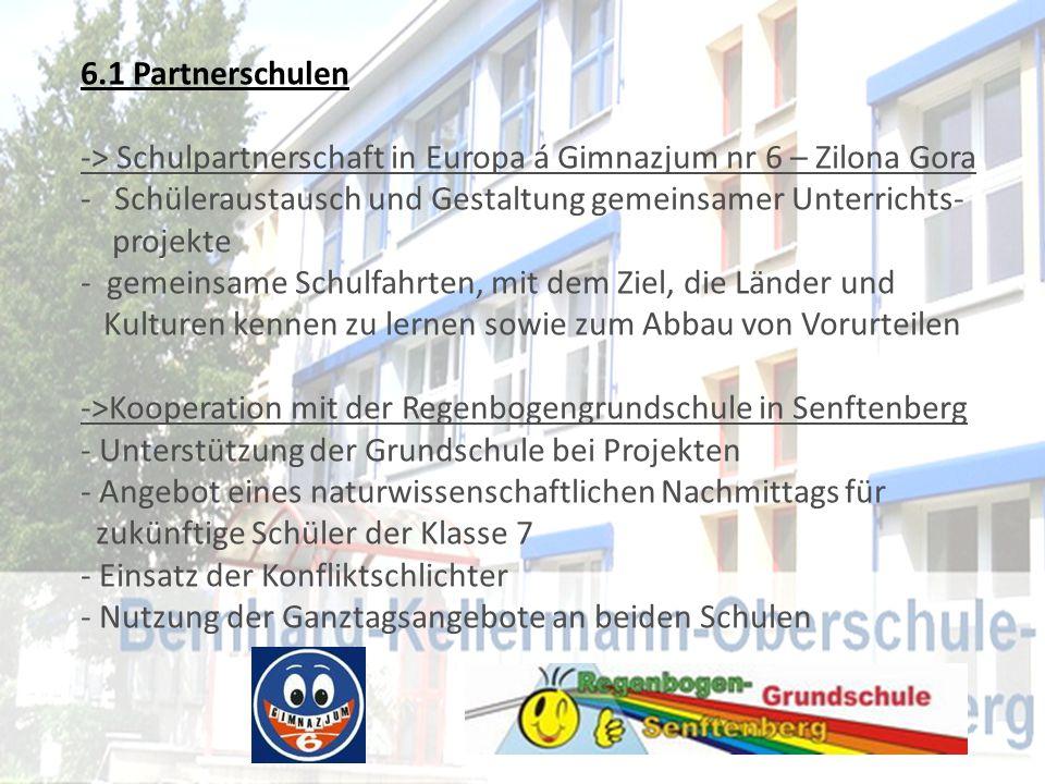 6.1 Partnerschulen -> Schulpartnerschaft in Europa á Gimnazjum nr 6 – Zilona Gora - Schüleraustausch und Gestaltung gemeinsamer Unterrichts- projekte