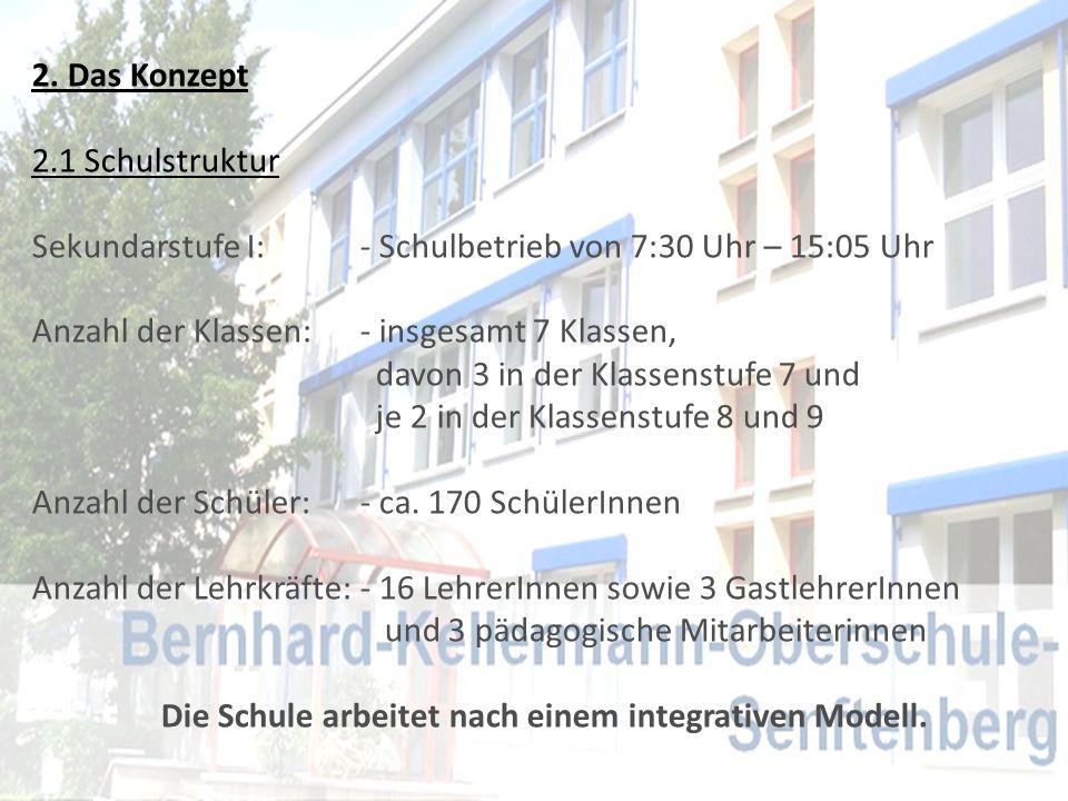 2. Das Konzept 2.1 Schulstruktur Sekundarstufe I: - Schulbetrieb von 7:30 Uhr – 15:05 Uhr Anzahl der Klassen: - insgesamt 7 Klassen, davon 3 in der Kl
