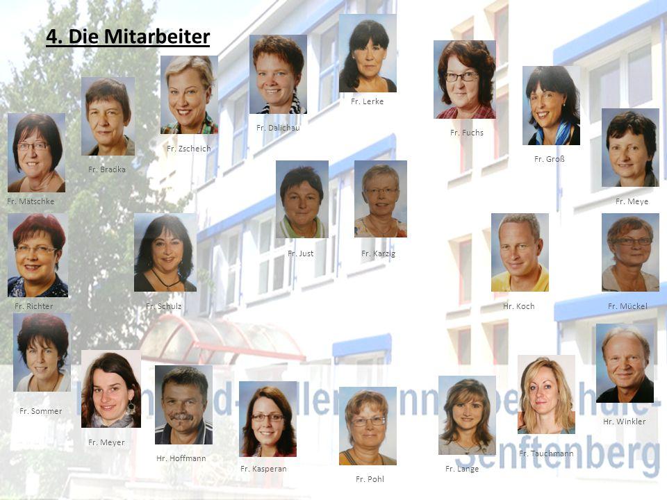 4. Die Mitarbeiter Fr. Dalichau Fr. Lerke Fr. Fuchs Fr. Groß Fr. Meye Fr. Mückel Hr. Winkler Hr. Koch Fr. KarzigFr. Just Fr. Schulz Fr. Zscheich Fr. M