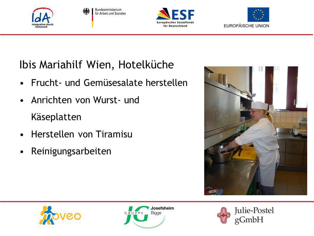 Ibis Mariahilf Wien, Hotelküche Frucht- und Gemüsesalate herstellen Anrichten von Wurst- und Käseplatten Herstellen von Tiramisu Reinigungsarbeiten