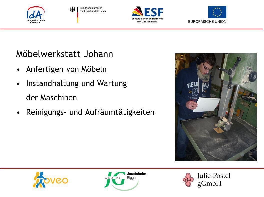 Möbelwerkstatt Johann Anfertigen von Möbeln Instandhaltung und Wartung der Maschinen Reinigungs- und Aufräumtätigkeiten