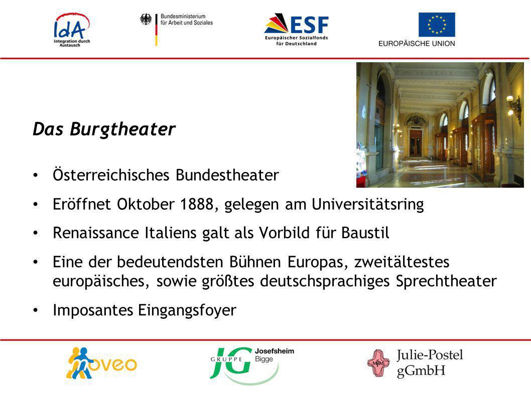 Das Burgtheater Österreichisches Bundestheater Eröffnet Oktober 1888, gelegen am Universitätsring Renaissance Italiens galt als Vorbild für Baustil Ei