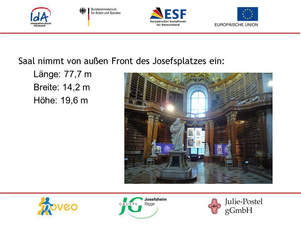 Saal nimmt von außen Front des Josefsplatzes ein: Länge: 77,7 m Breite: 14,2 m Höhe: 19,6 m