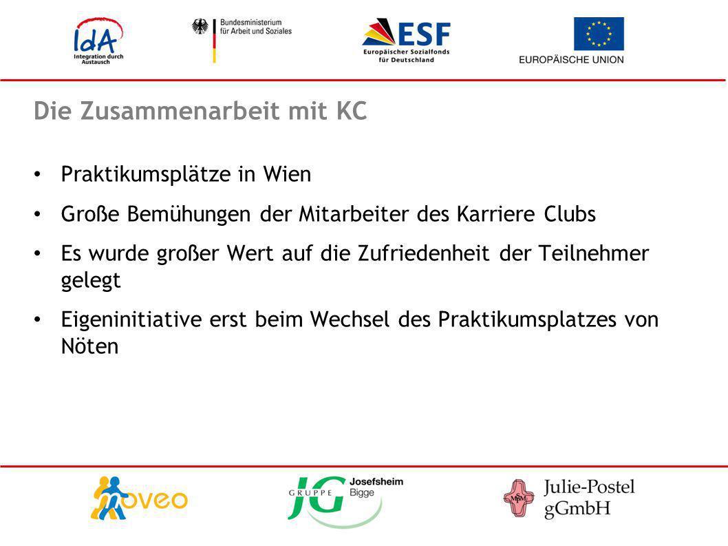 Die Zusammenarbeit mit KC Praktikumsplätze in Wien Große Bemühungen der Mitarbeiter des Karriere Clubs Es wurde großer Wert auf die Zufriedenheit der