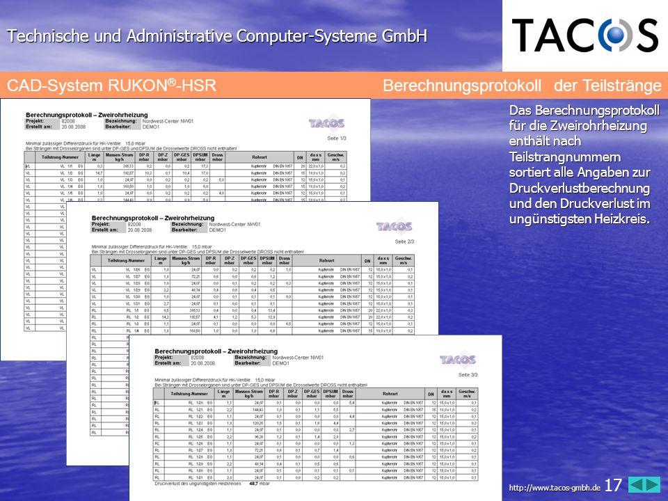 Technische und Administrative Computer-Systeme GmbH CAD-System RUKON ® -HSR Berechnungsprotokoll der Teilstränge Das Berechnungsprotokoll für die Zwei