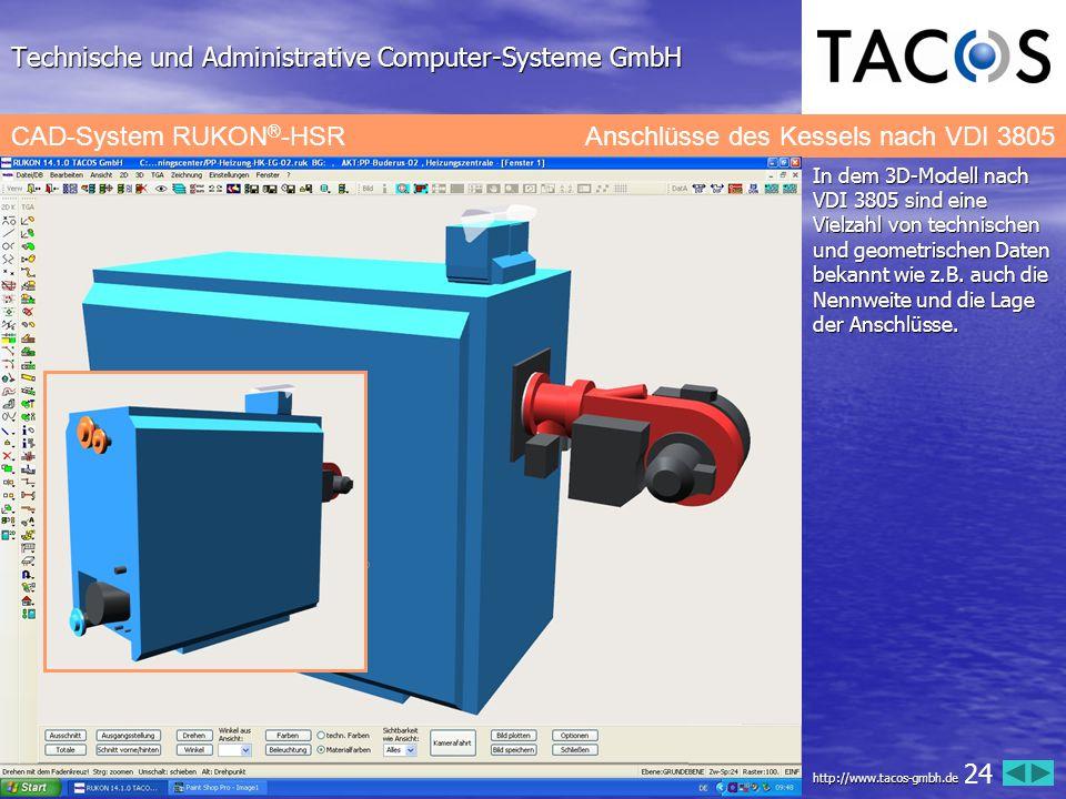 Technische und Administrative Computer-Systeme GmbH CAD-System RUKON ® -HSRAnschlüsse des Kessels nach VDI 3805 In dem 3D-Modell nach VDI 3805 sind ei