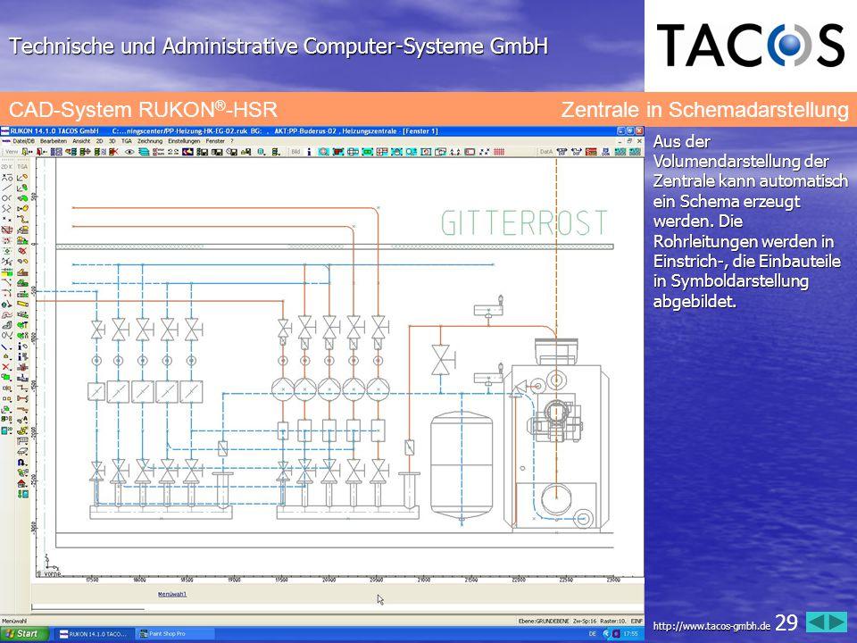 Technische und Administrative Computer-Systeme GmbH CAD-System RUKON ® -HSR Zentrale in Schemadarstellung Aus der Volumendarstellung der Zentrale kann