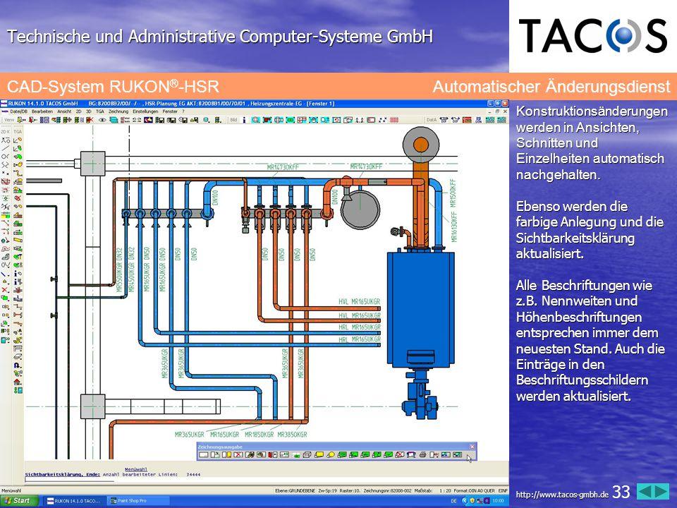 Technische und Administrative Computer-Systeme GmbH CAD-System RUKON ® -HSR Automatischer Änderungsdienst Konstruktionsänderungen werden in Ansichten,