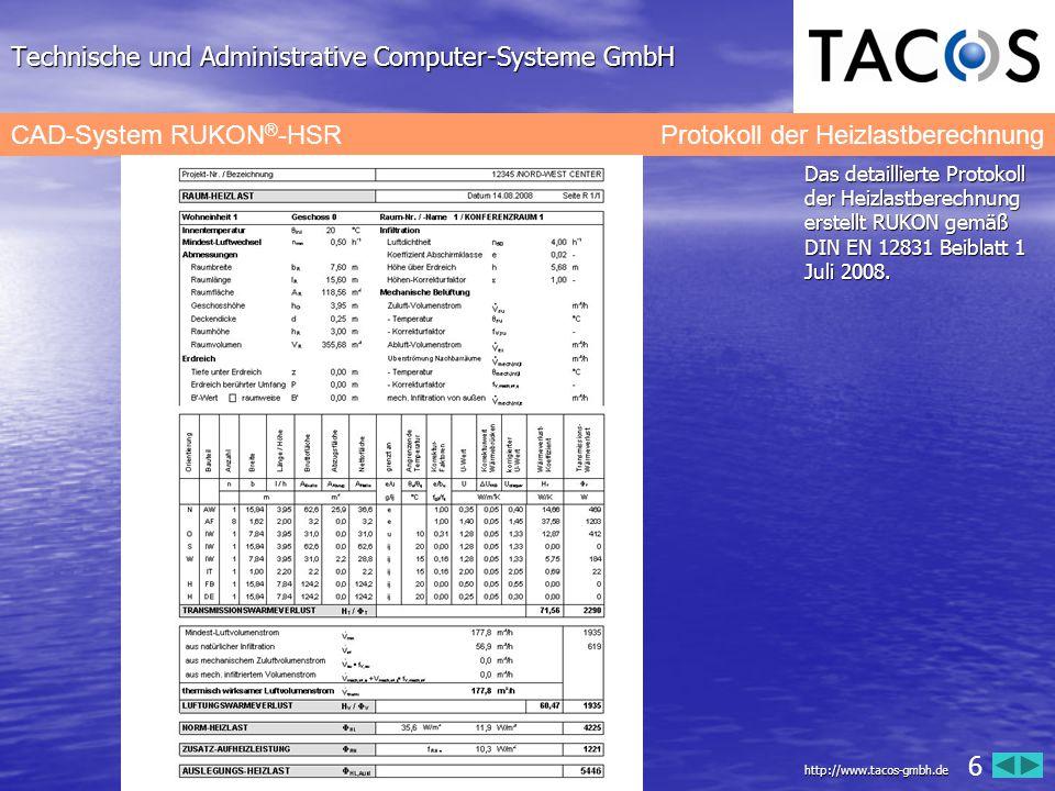 Technische und Administrative Computer-Systeme GmbH CAD-System RUKON ® -HSR Berechnungsprotokoll der Teilstränge Das Berechnungsprotokoll für die Zweirohrheizung enthält nach Teilstrangnummern sortiert alle Angaben zur Druckverlustberechnung und den Druckverlust im ungünstigsten Heizkreis.