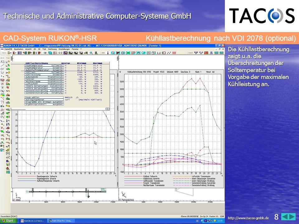 Technische und Administrative Computer-Systeme GmbH CAD-System RUKON ® -HSRProtokoll der Kühllastberechnung nach VDI 2078 Die Ergebnisse der Kühllastberechnung werden gemäß VDI 2078 dokumentiert.